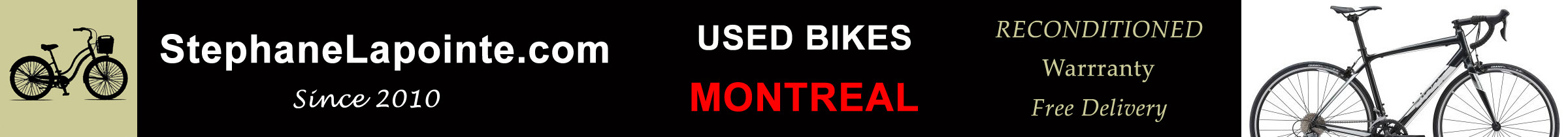Used bikes in Montreal, modern and vintage road bikes, hybrid bikes, city bikes and more. Each bike carefully tuned by an expert - 30 DAY WARRANTY - FREE DELIVERY in Montreal. - StephaneLapointe.com