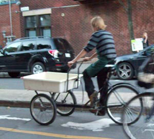 Grocery delivery trike in Montreal
