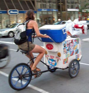 Ice cream vending trike in Montreal