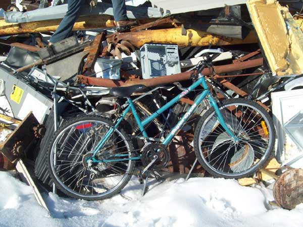 A bike saved from the crusher at a scrapyard